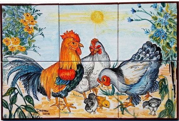 Pannello cucina ceramica di vietri mosaico mattonelle gallo for Piastrelle cucina disegnate