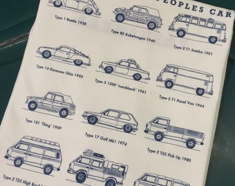 Classic Volkswagen 50 years of the Peoples Car T-shirt.  Full Back print on a 100% cotton preshrunk Tee.  White shirt, navy blue print.