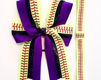 Sports bow & headband set-  Softball bow - Sports - Your choice of color
