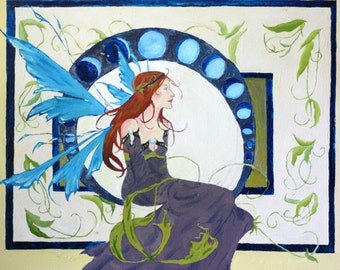 Lady in the moons -  Print from an original acrylic painting.