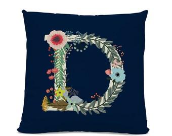Initial Pillow - Floral Letter Pillow - Pillow with Letter D - Monogrammed Pillow - Custom Throw Pillow Flower Monogram Pillow