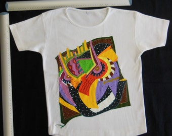 Owl - hand painted shirt - Size M