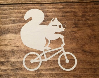 Squirrel on Bicyle Decal