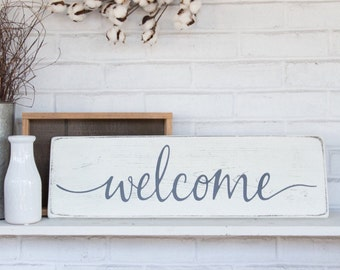 "Wood welcome sign | 24""x 7.25"" 