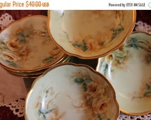 "End Of Summer SALE Set of 6 Antique M.Z. Austrian Hand Painted 5.25"" Fruit or Dessert Bowls - Luster, Yellow Roses, Gold Gilding"