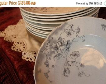 "End Of Summer SALE Set of 10 Antique Bishop & Stonier 9"" Soup Bowls - Boston Pattern, Monochromatic, Semi Imperial Porcelain"