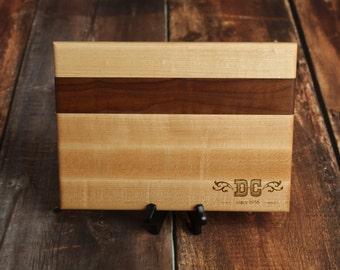 Birthday Cutting Board, Custom Cutting Board, Personalized Western Cutting Board with Hard Maple and Walnut Wood, 60th Birthday Gift
