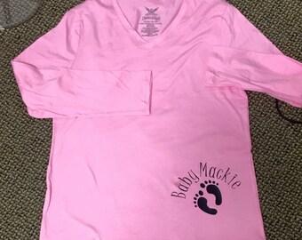 Gender reveal footprint shirt