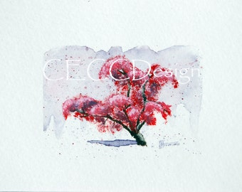 Watercolor Cherry Blossom Tree