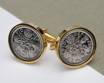 1947  Lucky Sixpence Coin Cufflinks - 70th birthday gift - gold plated