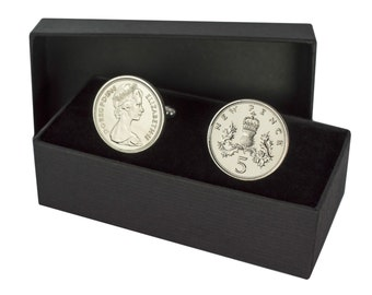 30th birthday 1987 old five pence coin cufflinks