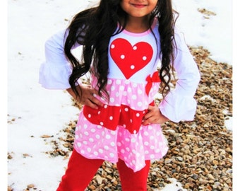 Valentine's Day outfit girls sizes 12 months- 7 years red and white polka dot heart and ruffle pants first Valentine's Day outfit so cute
