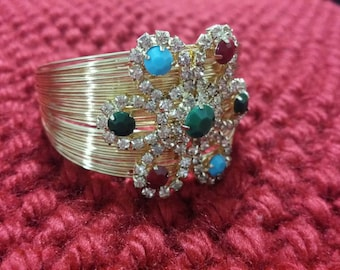 Gold Multicolor (White, Blue, Green, Red) Bangle Style Bracelet (kada) - FREE SHIPPING in U.S.
