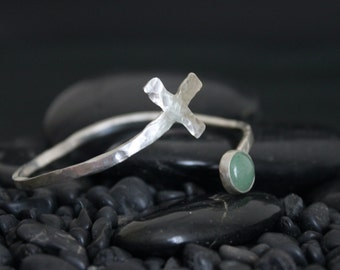 Silver and Aventurine Love and Hugs Cuff