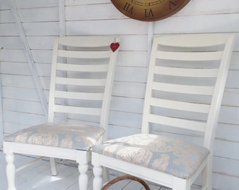 Pair Of Chairs, High Back Hand Painted Re-upholstered Shabby Chic Dining Chairs~ Farrow & Ball