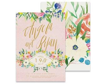 Floral Wedding Invitation | Magnolia | Printable DIY Invite, Affordable Wedding Invitation | Vintage pink invite with botanical florals