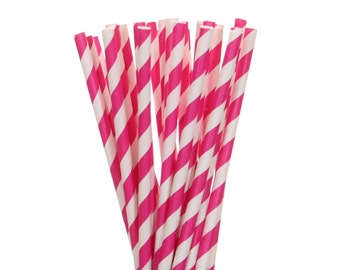 Paper Straws, Dark Pink Stiped Paper Straws, Pink and White Paper Straws, Gender Reveal Party Supplies, Hot Pink Striped Paper Straws, Straw