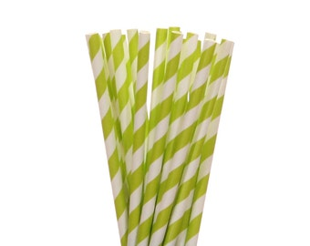 Paper Straws, Lime Green Striped Paper Straws, Spring Garden Party Supplies, Bridal Shower Decor, Jungle Party Straws, Frog Party Decoration
