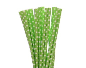 Paper Straws, Lime Green Polka Dot Paper Straws, Frog Party Paper Straw, Jungle Paper Straw, Garden Party Supplies, 1st Birthday Party Decor
