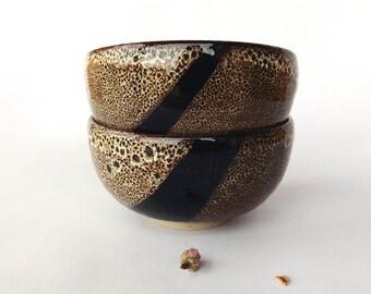 Speckled brown bowl, diagonal decor, stoneware