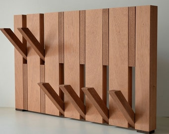 Designer coat rack mahogany solid, in-and fold out hooks, available in any size