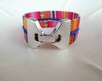 EXPRESS SHIPPING,Colorful Cotton Bracelet,Boho Bracelet,Hook Clasp Threefold Bracelet,Cuff Bracelet Multicolor Ethnic Bracelet,Gift for Her