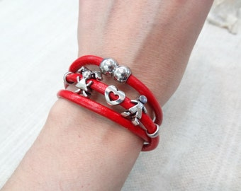 EXPRESS SHIPPING,Unisex Wrap Bracelet,Red Leather Bracelet,Boy,Girl Love Story Bracelet,Leather Jewelry,Magnetic Clasp,Valentine's Gifts
