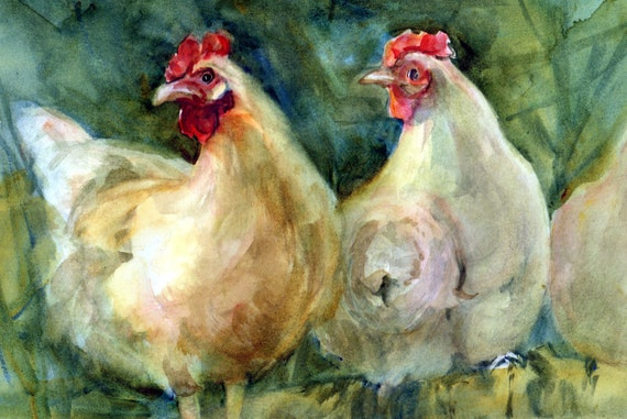 Hen - a signed print of a watercolor done by Columbia Gorge artist Bonnie White