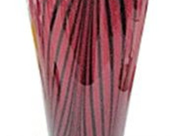 Tall red vase with black stripes