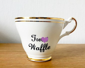 Tw*t Waffle | Custom Swear Teacup | Made To Order | Funny Rude Insult Obscenity Profanity | Unique Gift Idea