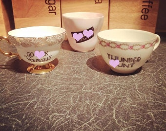 Custom Swear Teacup | Made To Order | Funny Rude Insult Obscenity Profanity | Unique Gift Idea