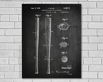 Baseball Bat Poster - Baseball Bat Patent Print - Baseball Decor - Baseball Wall Art - Baseball Decor - Historic Baseball picture - SB774