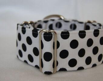 2 Inch Wide Martingale Collar: Greyhound Whippet Lurcher Handmade Dog Collar Polka Dot
