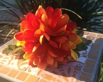 Orange Dahlia with Yellow Daisies Hair Clip