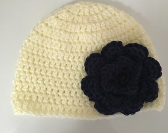 Crochet Baby Girl Hat with Crochet Flower