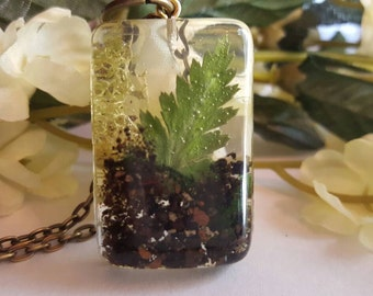 Fern necklace pressed fern jewelry leaf jewellery botanical pendant botanical necklace gift for a nature lover terrarium necklace fairy