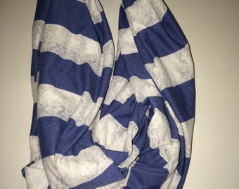 Blue and white lace infinity scarf