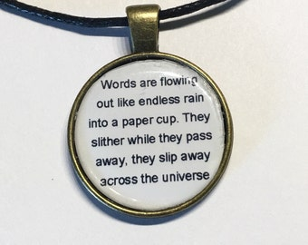 Beatles Across the Universe inspired lyric necklace