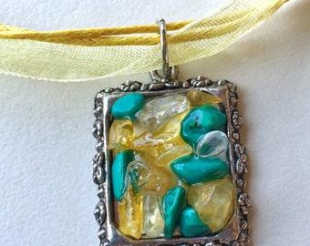 Citrine, Turquoise and Quartz necklace