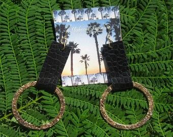 Black croc leather strap with circle hoop earrings