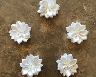 Decorative Flowers, WHITE, small flowers, satin flowers, wedding flowers, head band supply, head bands, silk flowers, roses, flowers