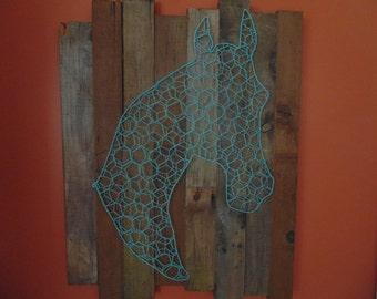 Turquoise Horse Head on Barnwood