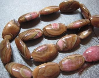 Argentina Caramel Rhodochrosite Oval Beads 18pcs