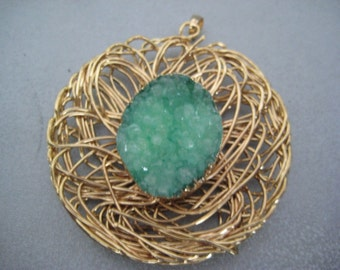 Green Agate Druzy Geode Wire Wrapped Pendant 1pc