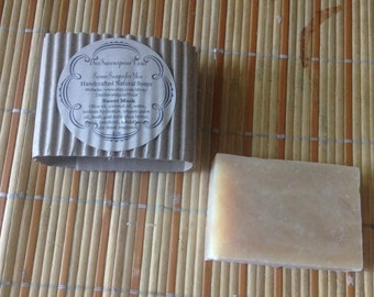 Sweet Musk Soap - fresh goats milk, organic palm oil used. Musk/Sandalwood/flora and patchouli fragrance