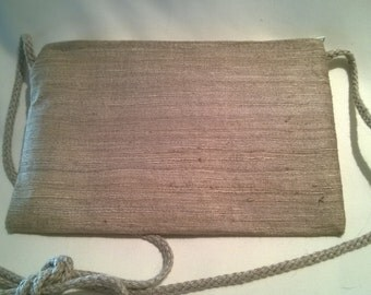 Beige silk purse, raw silk purse, evening purse, shoulder purse