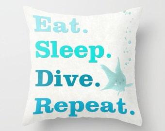 Eat Sleep Dive Repeat pillow, cushion,diving pillow, snorkeler gift,throw pillow, gift for diver, scuba diving, pillow set, matching pillows