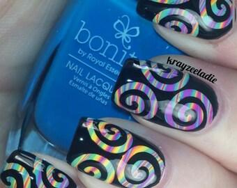 Mini Spiral Swirl Nail Art Vinyl Stencils