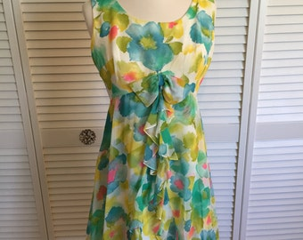 1960s watercolor floral chiffon mini dress