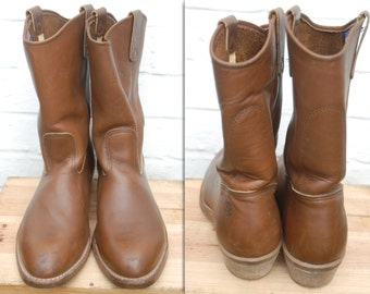 Vintage 70's Work N Sport Brown Leather Pecos Engineer Western Boots Made in USA Vibram Sole US 10 D UK 9